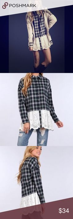 Coming Soon! Plaid Tunic Pretty in Plaid Tunic. Hunter Green with White Lace Hem Detai. Long Sleeve. Button front. Tops Button Down Shirts