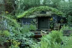This little Hobbit house would make a great garden shed, or studio, or children's playhouse, or. the possibilities are endless. Casa Dos Hobbits, Hobbit Garden, Outdoor Zelt, Earth Sheltered Homes, Cabins And Cottages, Log Cabins, Homestead Survival, Fairy Houses, Garden Houses