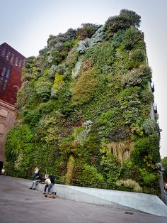 Vertical garden contiguous to art gallery CaixaForum — Jardin vertical accolé à la galerie d'art CaixaForum (Madrid) by coalition pure, via Flickr