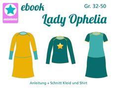 Shirt und Kleid mit amerikanischem Ausschnitt Lady Ophelia kann als einfaches Basicshirt oder Kleid genäht werden. Im Schnittmuster sind 2 Weiten, sowie verschiedene Ärmeloptionen enthalten....