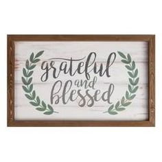 This framed wall decor is perfect for achieving that farmhouse feel in your home while celebrating everything you have in your life. Artfully detailed with a pine frame and elegant typography, this sign features the phrase Grateful and Blessed. Stain On Pine, Farmhouse Frames, Typography Inspiration, Wall Signs, Wooden Signs, Grateful, Fall Decor, Blessed, Wall Art