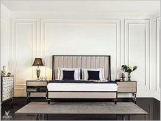 Molding, Wainscoting, and Millwork Master Bedroom Design, Home Bedroom, Bedroom Wall, Bedroom Decor, Classic Interior, Luxury Interior, Interior Design, Luxury Furniture, Bedroom Furniture