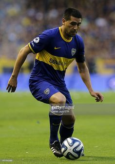 Juan Roman Riquelme, of Boca Juniors, plays the ball during a match between Boca Juniors and River Plate as part of 10th round of Torneo Final 2014 at Alberto J. Armando Stadium on March 30, 2014 in Buenos Aires, Argentina.