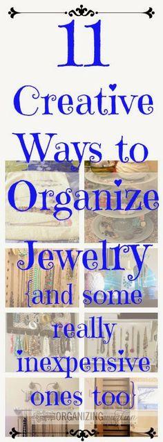 11 Creative Ways to Organize Jewelry {and some inexpensive ones, too} :: OrganizingMadeFun.com