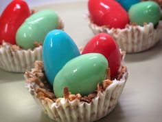 Whether you are planning for the future or just for this weekend's Easter dinner, these little jello nest eggs would make the perfect dessert.  The eggs are made from lime, cherry, and blueberry g...