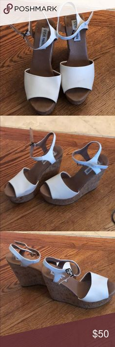 Steve Madden Wedges White and tan. Very high. Super comfortable! Steve Madden Shoes Wedges