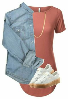 With jean shirt