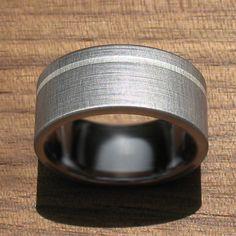 Titanium Wedding Ring Silver Pinstripe by spexton on Etsy, $179.00