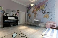 Wall sized world map. Motivate myself keep dreaming about traveling around the world.