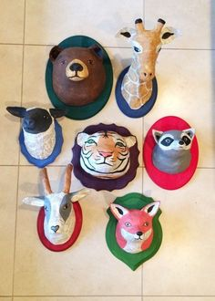 paper mache animal heads: