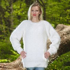 WHITE Hand Knitted Mohair Sweater Ribbed Fuzzy Mens Pullover  SUPERTANYA M L XL #SUPERTANYA #Crewneck