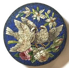 Older Victorian Vintage Micro Mosaic  Button or Pin with Birds and Flowers