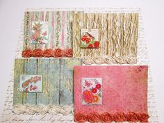 Set of 4 Country Roads All Occasion Notecards with pretty postcard tags with touches of sparkle and fabric rose trim