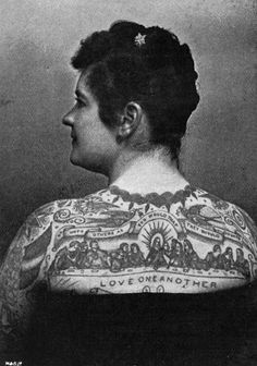 Emma de Burgh, another famous tattooed lady, and her bangin Last Supper tattoo, 1897