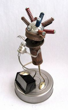 Gamon | Found Object Robot Assemblage Sculpture by Brian Marshall