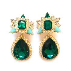 53b712a719b7 -PENDIENTES ZELDA- Pendientes largos con piedras en color verde esmeralda y  verde agua.