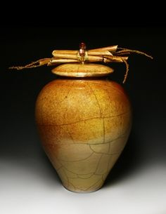 "Golden Raku – ""Lidded Bamboo"" Mary H Rowland"