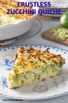 Creamy Crustless Zucchini Quiche Recipe Need zucchini recipes? This zucchini quiche is crustless and easy! With grated zucchini, herbs and smoked gouda, it tastes amazing! Low Carb and perfect for keto meal planning. via Low Carb Maven Zucchini Quiche Recipes, Keto Quiche, Recipe Zucchini, Healthy Zucchini Recipes, Zuchini Quiche, Breakfast Recipes With Zucchini, Frittata, Zuchinni Bake, Large Zucchini Recipes