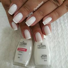 18 New Ideas French Manicure Christmas Bridal Nails French, Glitter French Manicure, French Tip Nails, Manicure Y Pedicure, Gel Nails, Simple Acrylic Nails, Ballerina Nails, Nail Polish Colors, Wedding Nails