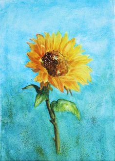 Original Watercolor Sunflower Painting Rustic by watercolorsRfun, $68.00