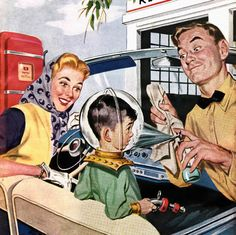 Back to the Future ~ Full service gas station ad from Motor Magazine cover, May 1955.