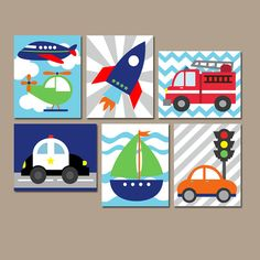 TRANSPORTATION Wall Art, CANVAS or Prints Boy Nursery Artwork, Boy Bedroom Pictures, Airplane Police Fire Truck Car Boat Rocket Set of 6