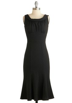 Doo-Wop Romance Dress by Stop Staring! - Long, Black, Solid, Cocktail, A-line, Sleeveless, Pinup, Vintage Inspired, 50s, Luxe