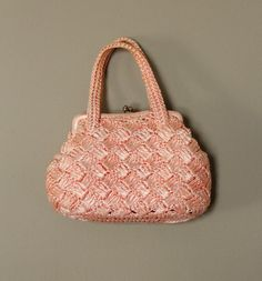 1950s Vintage Pink Woven Small Purse by StudioTinselVintage, $23.00