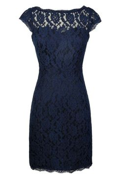 Classic Navy Blue Lace Short Mother of the Bride Dress