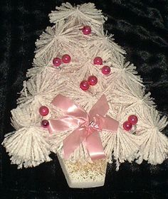 VINTAGE FLOCKED PINK BOTTLE BRUSH CHRISTMAS TREE WALL DECORATION WITH ORNAMENTS