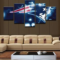 New England Patriots NFL Football 5 Panel Canvas Wall Art Home Decor – Decal Labs