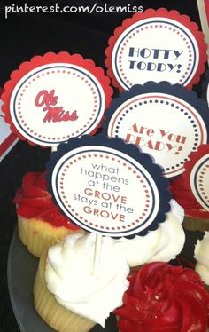 Squires Squires Caligiuri made these cute DIY cupcake toppers to dress up her tailgating treats for the Grove! Ole Miss Tailgating, Tailgating Ideas, Ole Miss Girls, Grad Parties, Football Parties, Ole Miss University, Tailgate Table, Miss Cupcake, Ole Miss Rebels