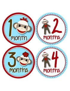 Baby Boy Sock Monkey Onesie Stickers by BuddhaBellies on Etsy, $9.00