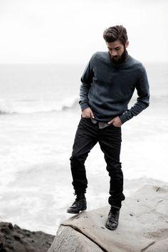 Casual fall outfit [ RoyalSilkUSA.com ] #fashion #royal #silk: Navy pullover, grey shirt, black jeans