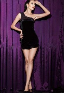 850bfc4ae19 Black Velvet One Shoulder Club Dress Elegant Party Dresses