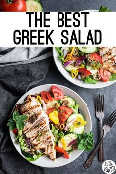 This is the BEST greek salad recipe on the internet! With fresh veggies like tomatoes and cucumbers, plus olives and pepperoncini peppers and fresh herbs, this is one salad you'll be happy to have as a meal. It's paleo, gluten free, keto, low carb, and Whole30. Paleo Salad Recipes, Greek Salad Recipes, Lunch Recipes, Real Food Recipes, Dinner Recipes, Healthy Recipes, Free Recipes, Keto Recipes, Paleo Dinner