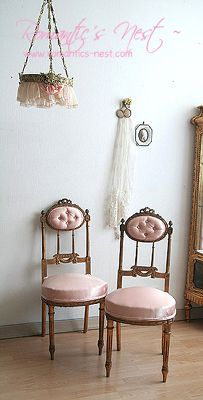 French satin chairs with gold gilt adornment