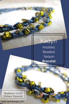 Kadyn Knotted, Beaded, Sequin Bracelet - Beginner Level Pattern, Picture Tutorial. www.nbnndesigns.com Bracelet Knots, Wrap Bracelets, Knit Picks, Photo Tutorial, Anklets, Beads, Knitting, Pattern, Gifts