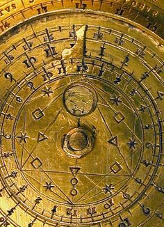 Close up of the Lunar volvelle from an astronomical Compendium by Tobias Volkmer, 1645. The Compendia,  instruments that carry numerous devices for telling the time and performing astronomical calculations, were made in the German lands in the late 16th and early 17th centuries. They are often beautifully engraved in gilt brass. Typically such compendia carry a sundial, various lunar and solar volvelles, a compass, tables of latitude, and a perpetual calendar.