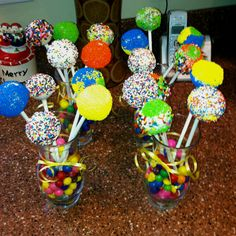 Birthday cake pops put candy in cup to hold up cake pops
