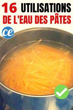 L'eau de cuisson des pâtes est souvent jeter dans l'évier...C'est bien dommage ! Pourquoi ? Car l'eau de cuisson peut être utilisée pour plein de choses ! Vous pouvez par exemple l'utiliser dans vos sauces... ...mais aussi pour prendre soin de vos cheveux et comme produit nettoyant ! Voici 16 utilisations surprenantes de l'eau des pâtes pour ne plus jamais la gâcher ! Regardez :