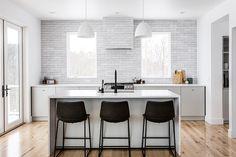 The Fresh Exchange: Brick Kitchen Backsplash Kitchen Flooring, Kitchen Backsplash, Kitchen Island, Entryway Flooring, Kitchen Sync, Kitchen Interior, Kitchen Design, Kitchen Ideas, Kitchen Redo