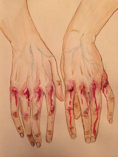 With bleeding hands. by viantart. Foto Fantasy, Fantasy Art, Art Sketches, Art Drawings, Image Triste, Vent Art, Arte Obscura, Sad Art, Aesthetic Art