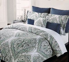 tahari home 3pc duvet cover set large paisley medallion luxury cotton sateen full queen