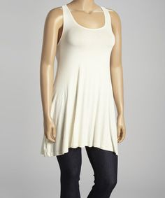 This Cream Racerback Tunic - Plus is perfect! #zulilyfinds