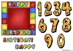 Birthday Age Topper  on Craftsuprint designed by Barbara Alderson - square card topper with numbers 0-9 to make a quick fun card suitable for all ages  - Now available for download!