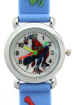 TimerMall Children's Sport Style Light Blue Strap Clear Numbers Hour Markers Cartoon Watches. Description: This kind of watch is especially designed for children a which is very reasonable and light. However it can waterproof so you can wear it in all seasons.Moreover its band's picture is spider man which is very popular and lovely. Clear standard numbers and bright colours make this watches appealing and attention grabbing.Therefore this is a good choose for chirldren!.
