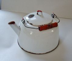 White Enamelware Tea Kettle with Red Wooden Handle 1950s