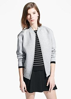 Mango Womens Bomber Neoprene-Effect Jacket, Light Heather Grey, M