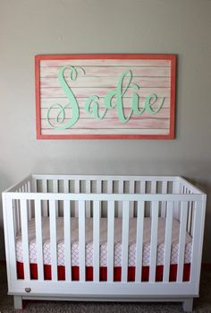Custom Name Sign- Nursery Sign- Personalized Sign- Large Wooden Sign- Name Sign- Custom Name Crib Sign- Farmhouse Decor- Name Plaque- Baby Pink Gold Nursery, Girl Nursery, Dog Signs, Name Signs, Baby Messages, Name Plaques, Name Art, Nursery Signs, Personalized Signs